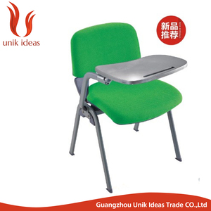 high quality sponge school furniture metal study chair with writing pad and cushion