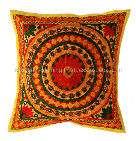 Exclusive Rajasthani Mirror Embroidered Cushion Cover Pillow Cases Jaipur 5 Pcs Set