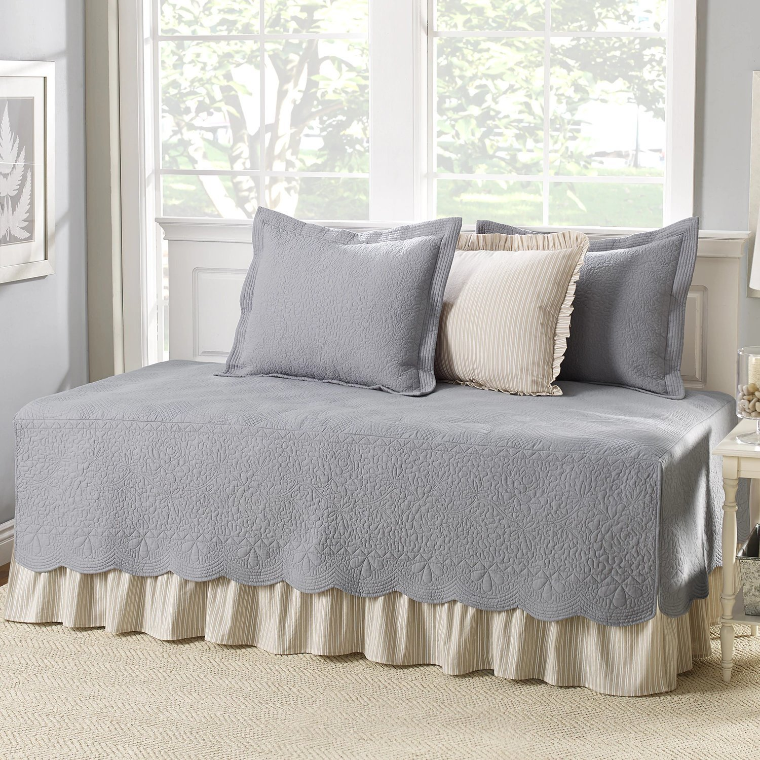 Grey Cotton, 5-piece Daybed Cover Set with Bedskirt and Vintage Style Included Cross Scented Candle Tart