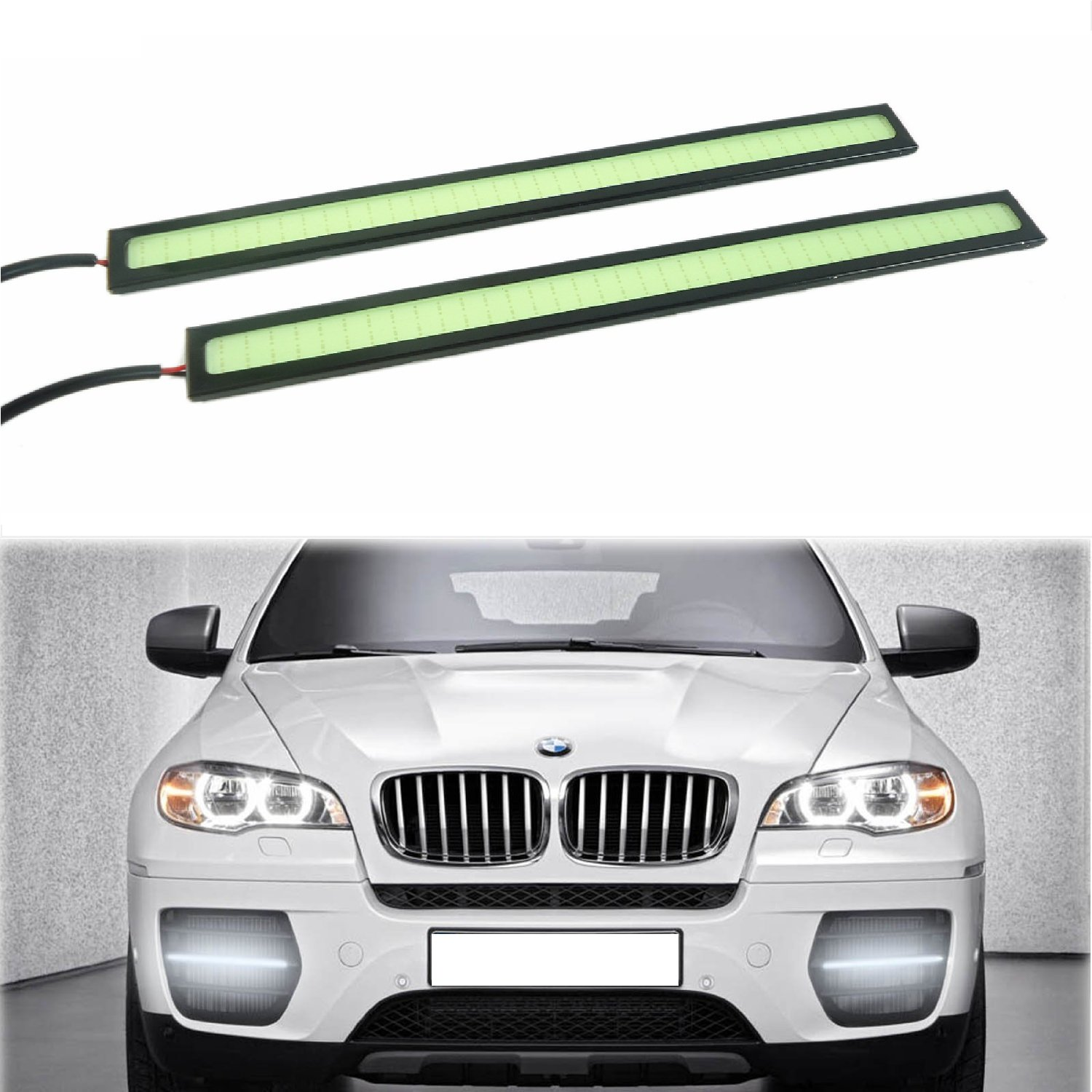 RioRand 2 Pcs 6W 6000K Waterproof Aluminum High Power Xenon Slim LED Light Daytime Running Light SUV Sedan Coupe Vehicle Lamp