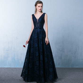 Elegant Deep V-neck Evening Dress Navy Blue Lace Open Back Alibaba ...