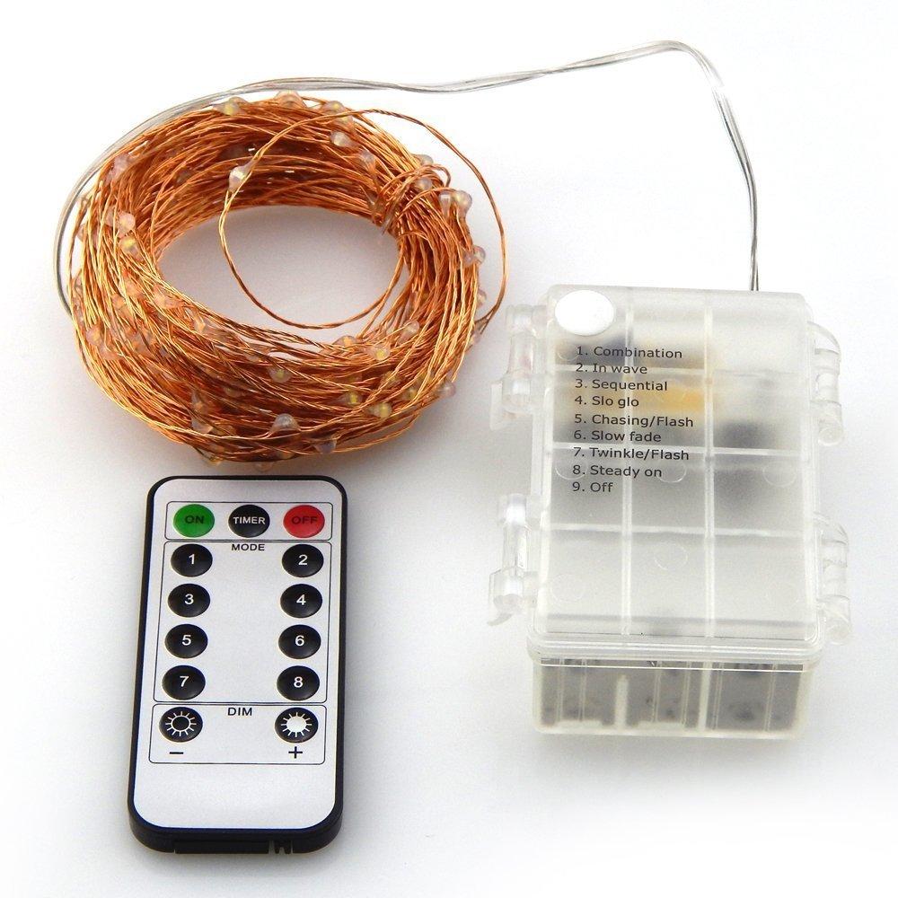 Fernbedienung und Timer Batterie Betrieben 66 ft 200 LED Kupfer ...