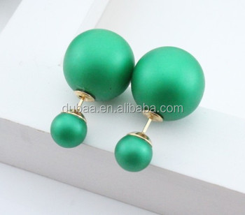 New Design Wrinkle Luxury Earrings Double Ball Pearl Stud Earrings ...