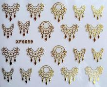 Ouro DIY design de Unhas De Transferência De Água Art Sticker decalques senhora mulheres instrumentos de manicure de Unhas Wraps Decalques