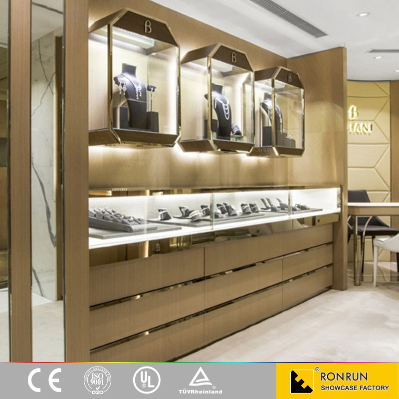 Jewelry wall mounted display showcase for interior design for Jewellery interior designs
