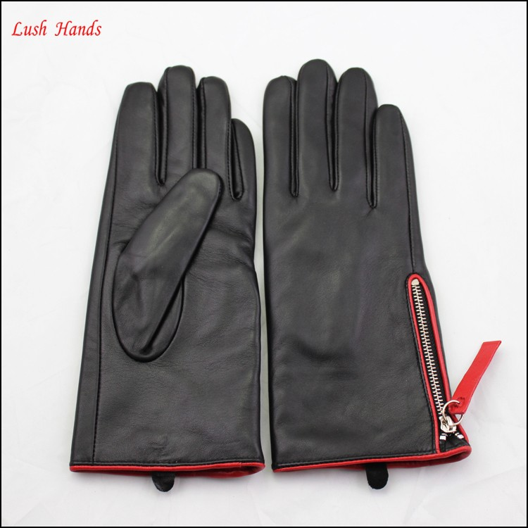 ladies fashion genuine sheepskin tops leather hand gloves with zipper winter wholesale
