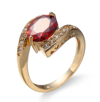 New Arrival Wholesale Gold Ring Design With One Red Stone