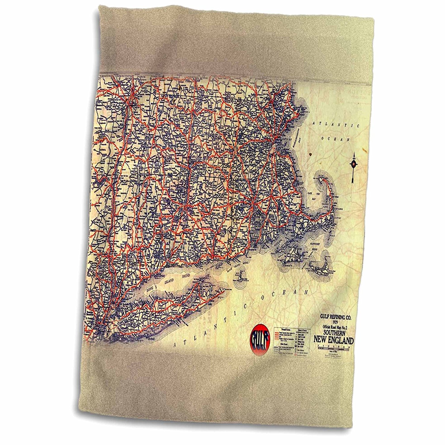 3dRose Florene Vintage Maps - image of vintage new England road map - 12x18 Towel (twl_171803_1)