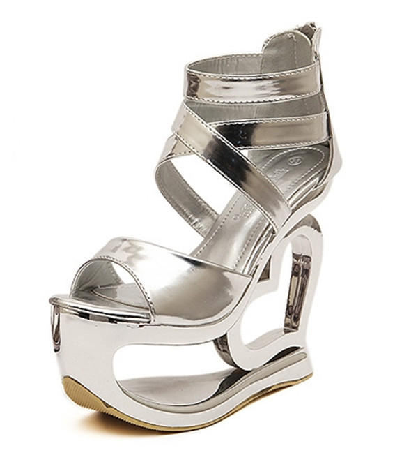 a5d568a43 Get Quotations · 2015 New Summer Grey Silver Fretwork High Heels Sandals  Women Casual Gladiator Wedge Sandals Sexy Peep