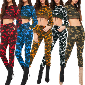 80315-MX31 Wholesale two pieces fashion camouflage long sleeve women jumpsuit