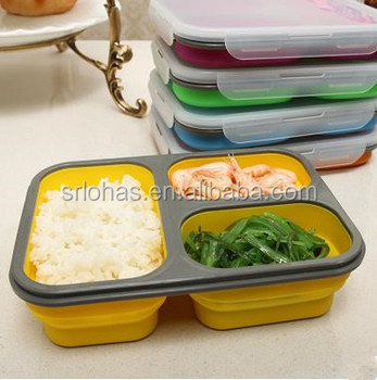 Food Grade Silicone 3 Compartment Reusable Food Storage Containers