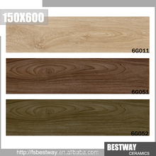 Cheap price brown color wood look ceramic tile size 150x600mm