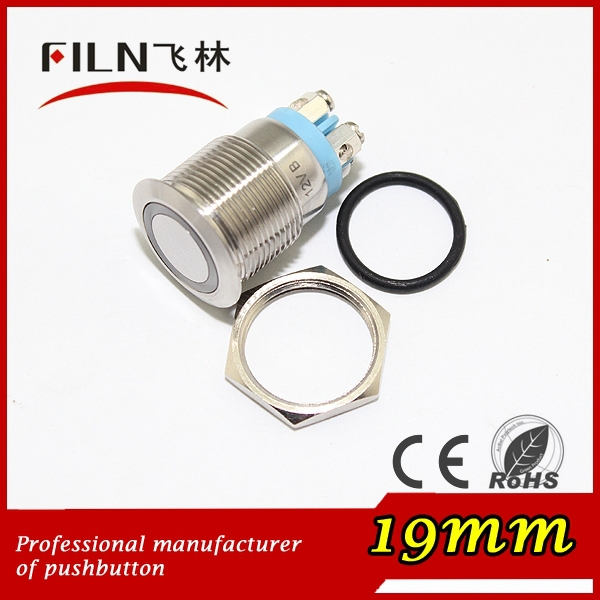 19mm stainless steel waterproof illuminated 12v 120vac 230v LED 1NO micro travel 4 screw contact momentary push button switch