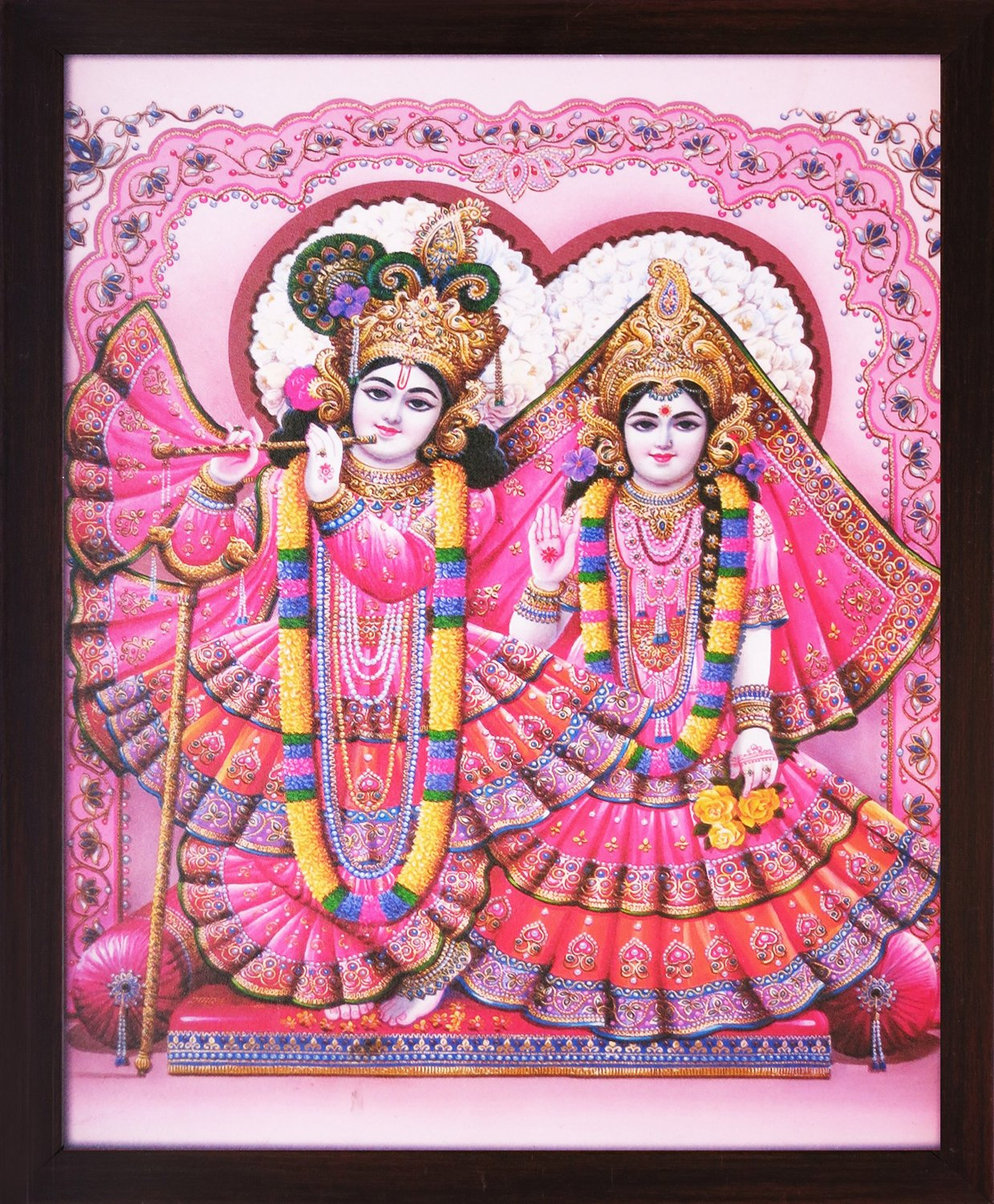 Lord Radha Krishna Wearing Elegant & Indiantraditiona Dress, a Decorative Religious Poster with Frame