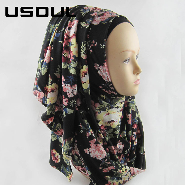 Wholesale National Wind Woman Autumn And Winter Jersey Print Muslim Scarf Hijab