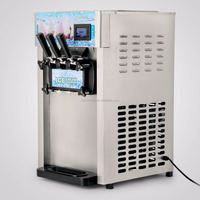 Ice Cream Machine for Commercial Soft Serve Frozen Yogurt Ice Cream Maker with LCD Display Mix 3 Flavors 110V