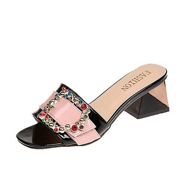 8107e9bd204 Get Quotations · GIY Women s Open Toe Chunky Heel Slip On Sandals Low Heel  Slipper Block Heeleed Slides Sandal