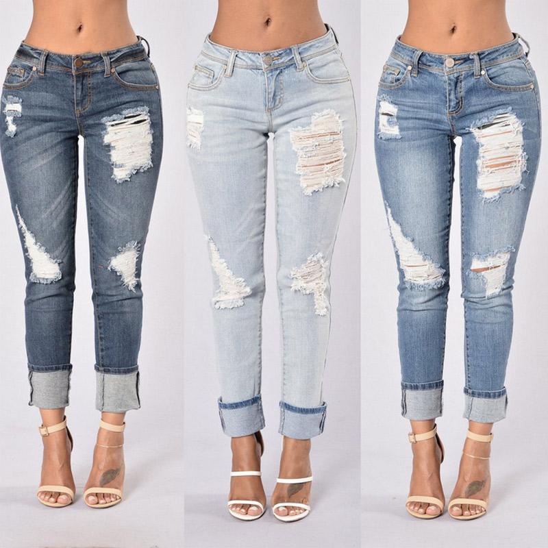 American style hole design rolled Ankle jeans MT105129