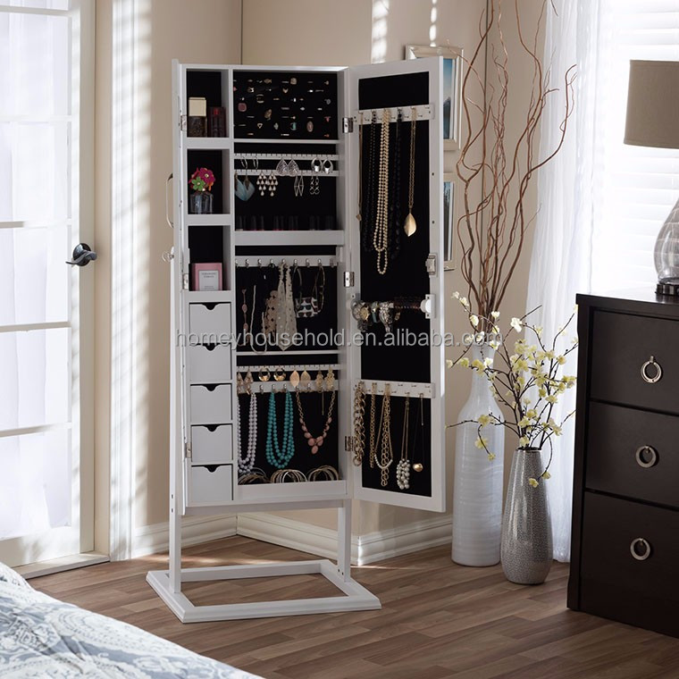 Luxury Royal MDF Wooden Bedroom Furniture Jewelry Cabinet with Full-length Mirror