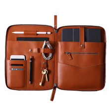 Rits <span class=keywords><strong>laptop</strong></span> folio tech organizer office cord document houder leather portfolio houder
