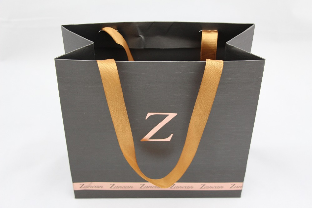Classy Gold Logo Printed Paper Bag For Wedding