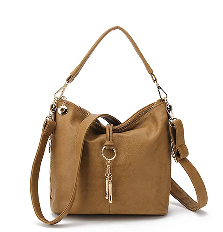 66cf66524e Hoxis Chic Tassel Faux Leather Hobo Slouch Zipper Bucket Womens Shoulder  Handbag