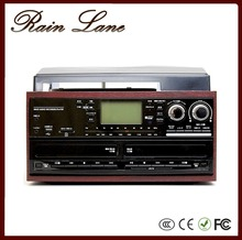 Rain Lane Double CD USB SD record cassette Gramophone player stereo systems with turntable