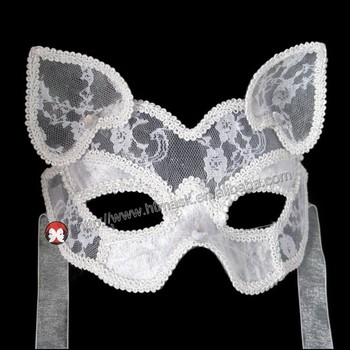 White apparent Cat transparent Lace Facial Mask for Costume Party Masquerade & White Apparent Cat Transparent Lace Facial Mask For Costume Party ...