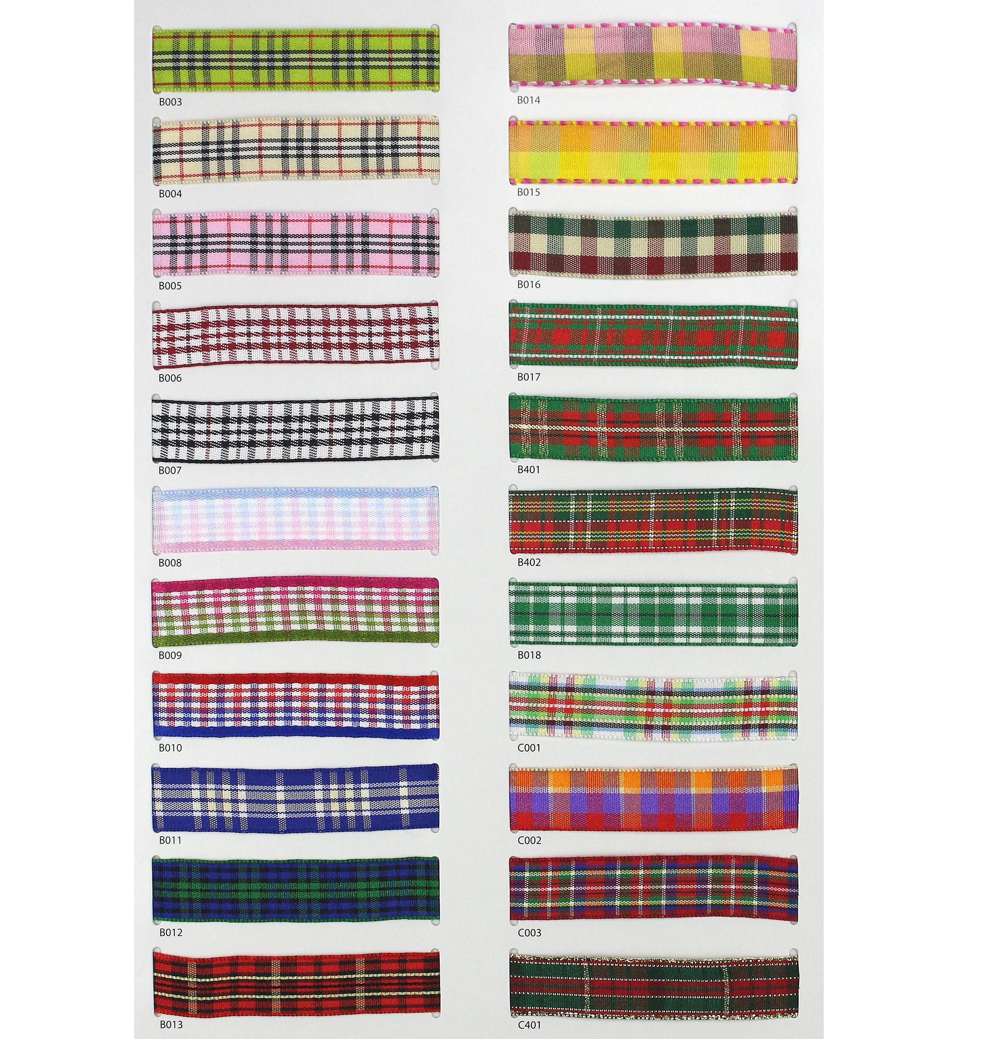 9 Widths Factory Price Gift Packing Decoration Grosgrain Grid  Plaid Check Ribbon