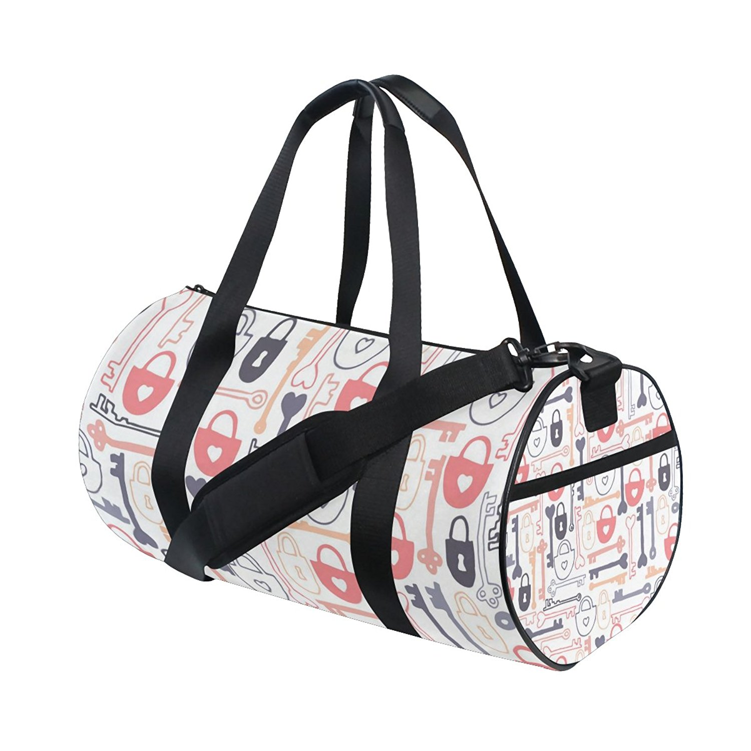 Gym Bag Lock Key Pattern Sports Travel Duffel Lightweight Canvas Bag