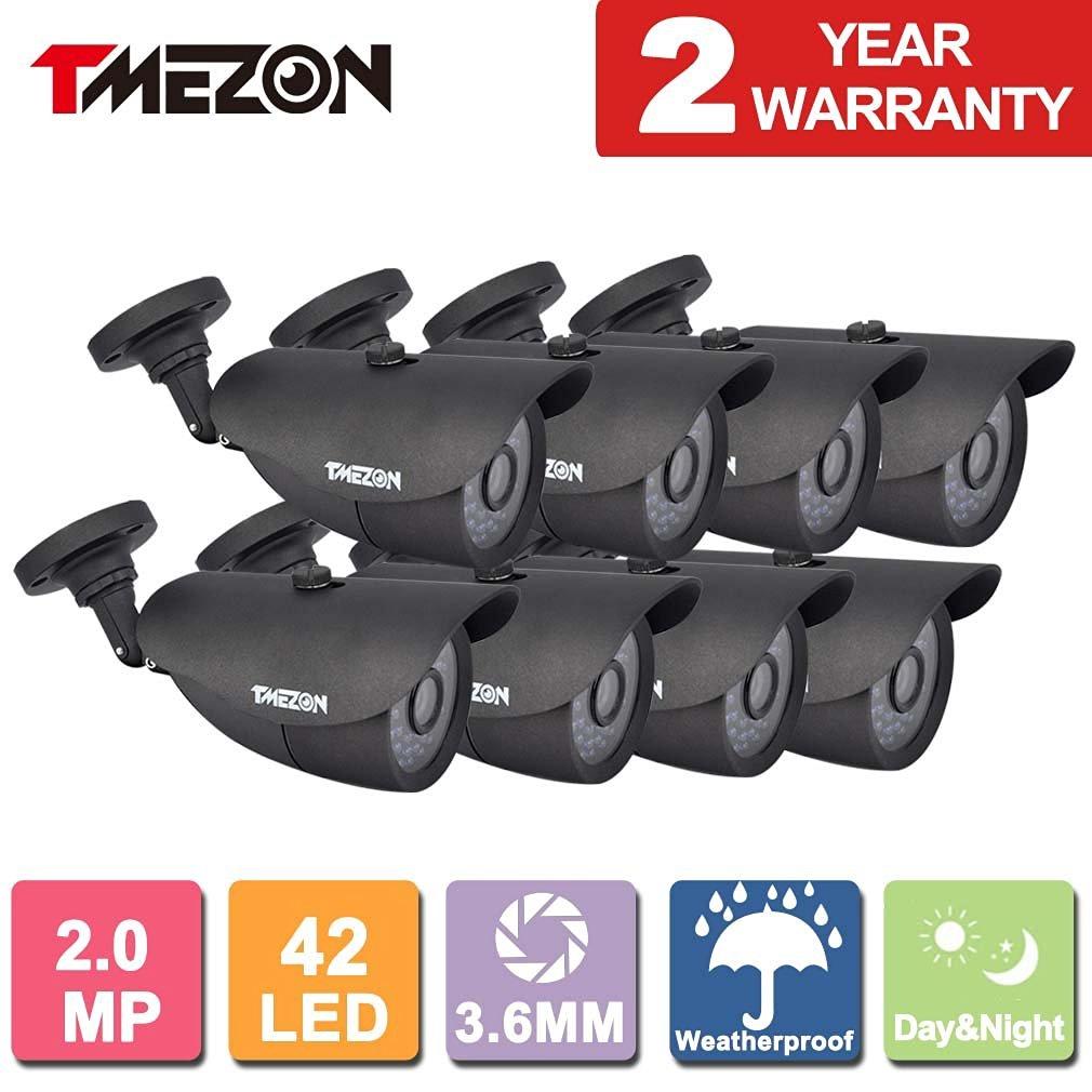 TMEZON 8 Pack 2.0MP CMOS Sensor 1080P AHD/TVI/CVI/960H Over Analog Weatherproof 42 IR Wide Angle Lens Camera with OSD