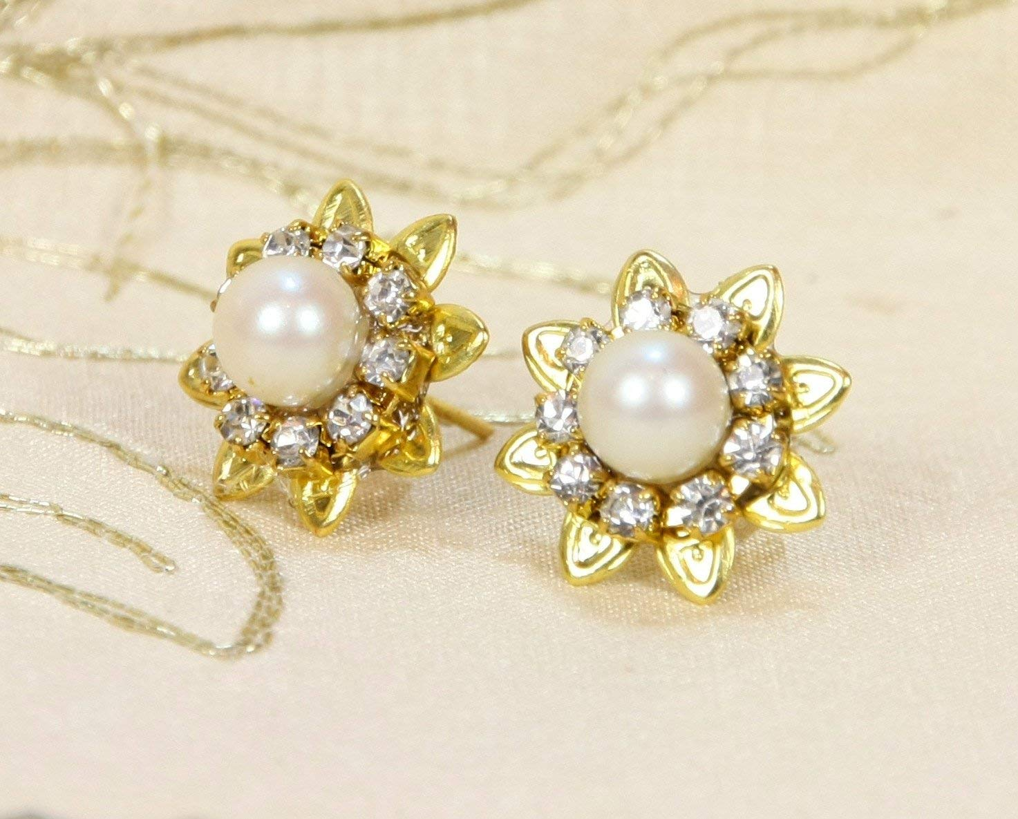 Get Quotations Bridal Earrings Pearls And Rhinestone Gold Ivory Real Genuine