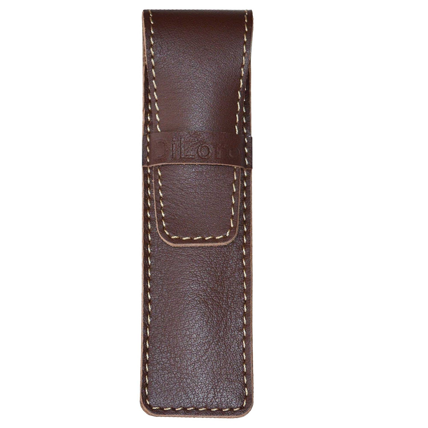 DiLoro Full Grain Top Quality Thick Genuine Leather Single Pen Case Holder Pouch (Buffalo Brown)