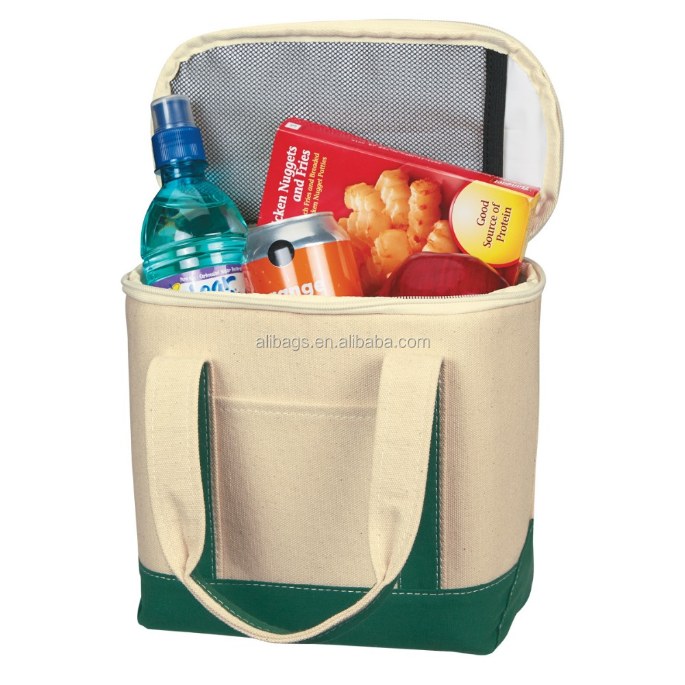 Small Heavy duty Cotton Canvas Cooler Tote Bag