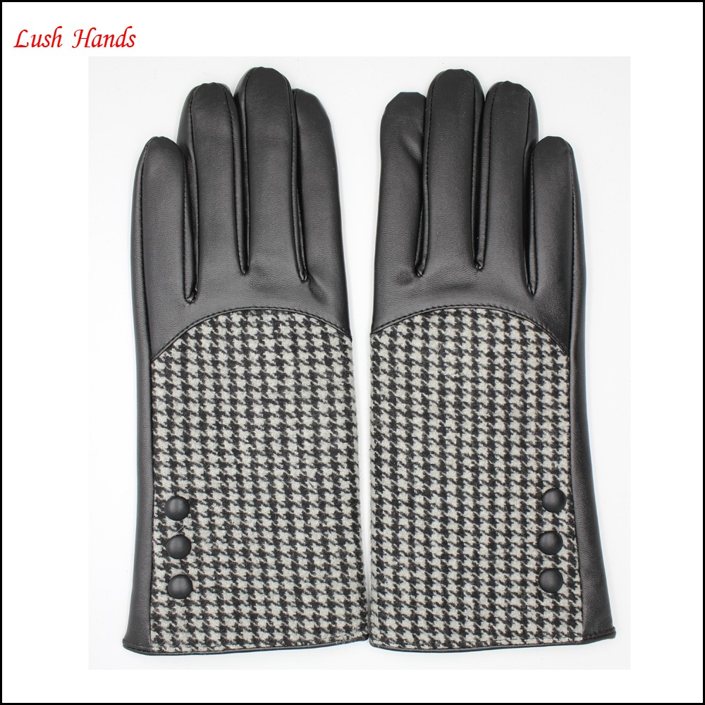 fashion and cheap women's PU leather and houndstooth fabric joined glove with button