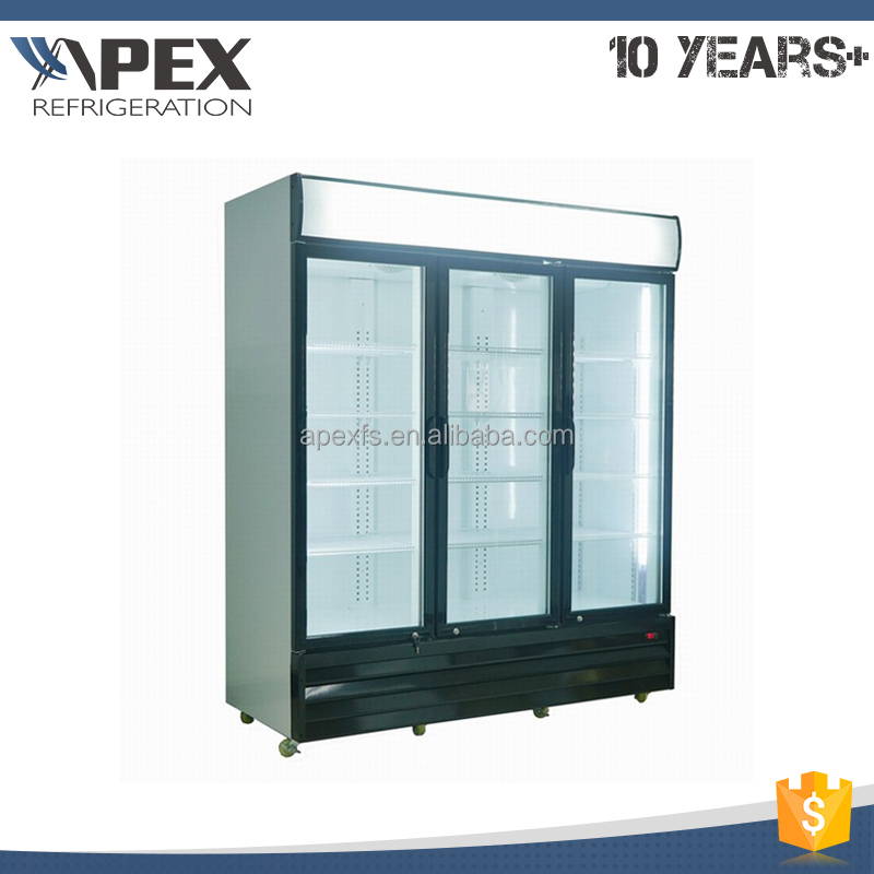 Supermarket super general retail fridge, 3 door glass door refrigerator