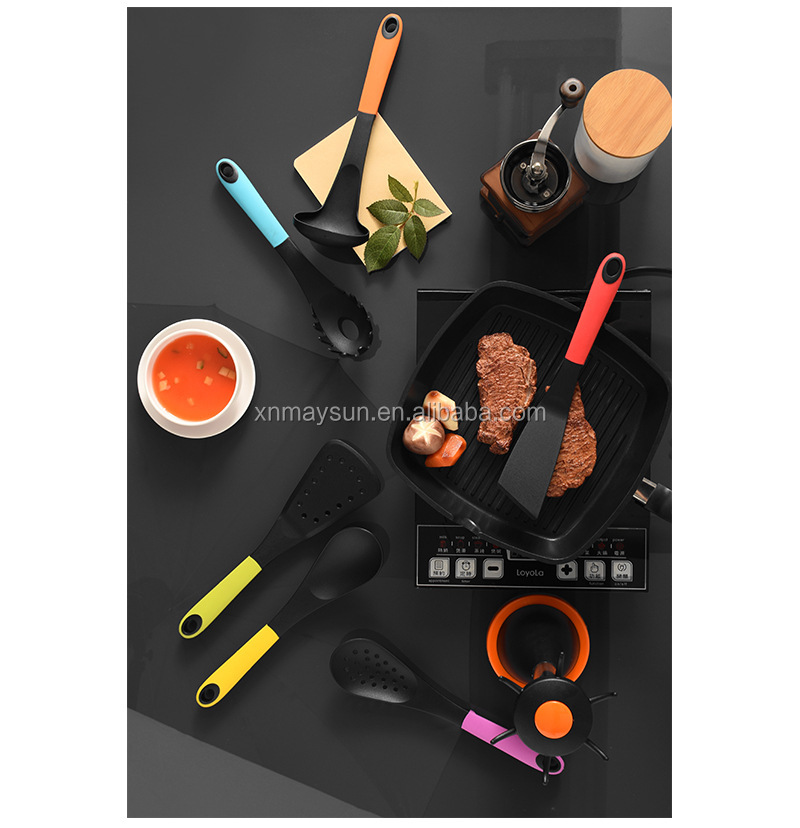 7 Pieces nylon kitchen cookware tools set Colorful Cookware Gadget / Kitchen Accessories with stand Spatula Spoon Rack