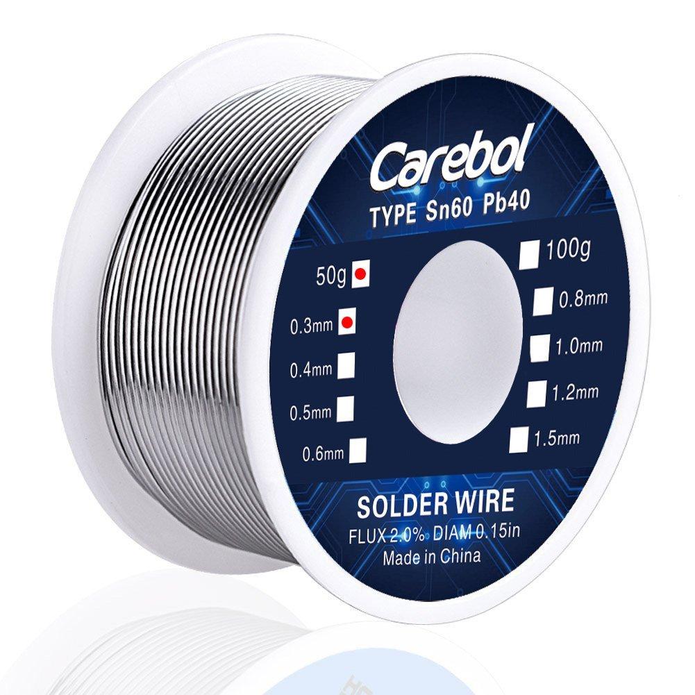 Carebol Tin Lead Rosin Core Solder Wire 60/40 (Sn60%, Pb40%) 0.3mm Diameter 50g
