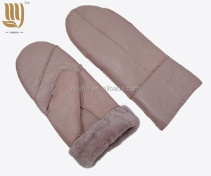 Ladies Women Sheep Leather Winter Mitten Gloves Women Lambskin Sheepskin Mitten For Adults