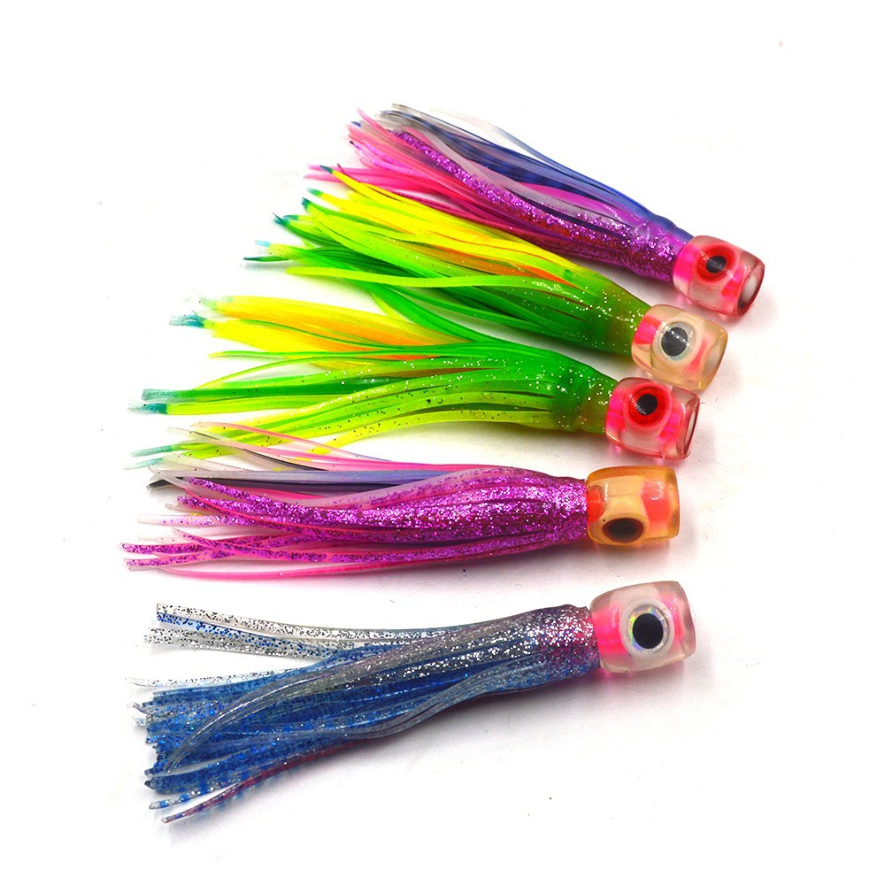 "50 NEW Soft Trolling Big Game Lure Bait Skirt 5/"" Silver//Red//Blue lures"