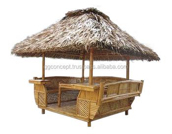 Garten Bambus Pavillon Mit Reetdach1 Tisch Innen Bambusmöbel