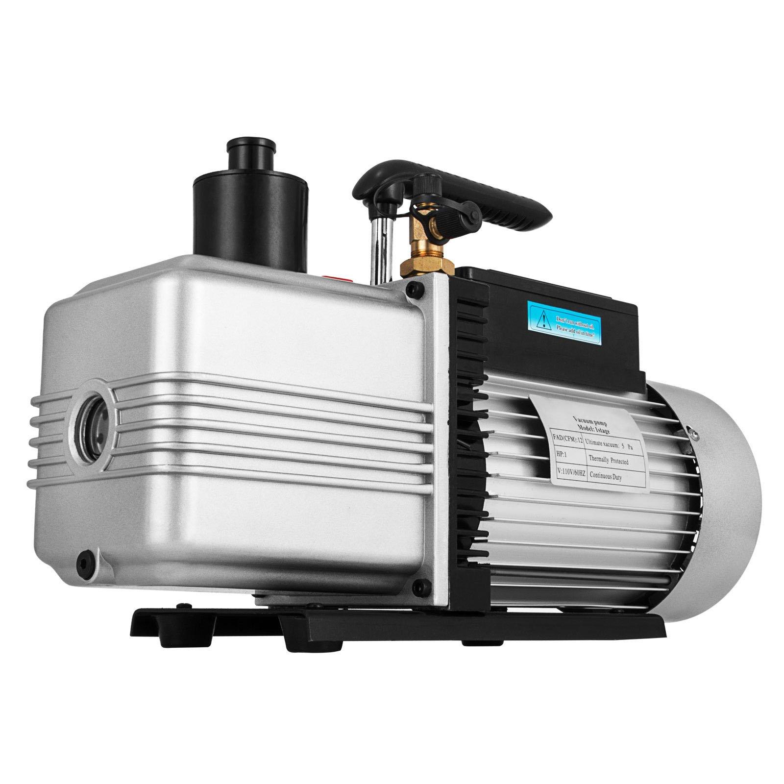 LOVSHARE 12CFM 1HP Vacuum Pump 110V 2 Meter Valve 1 Stage 5PA Ultimate Air Conditioning Refrigerant Vacuum Pump for HVAC/Auto AC Refrigerant Recharging Degassing wine epoxy Milking cow lamb Medical