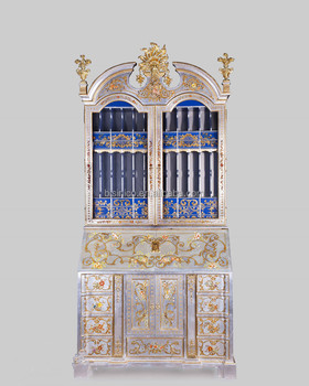 Gold Gilding Wooden Curio Cabinets With Flowers Paint Motif, Antique Silver  Finish Secretary Cabinet With