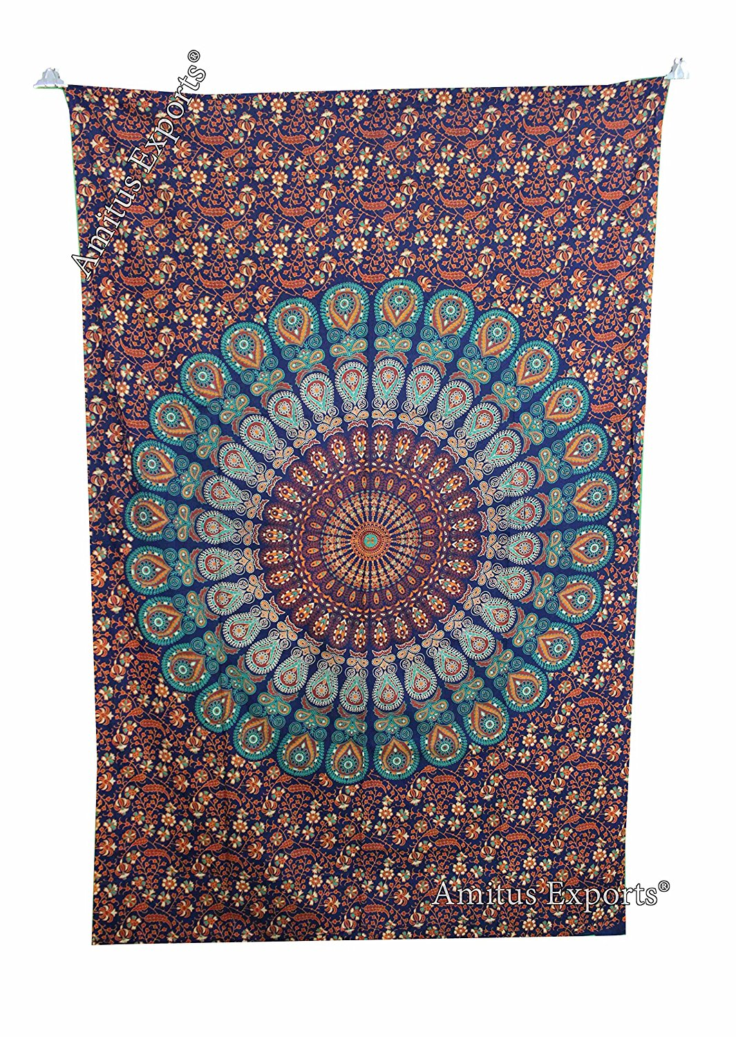 """Amitus Exports(TM) 1 X Peacock Flower Indian Throw 80""""X53"""" Approx. Inches Green Blue Color Cotton Fabric Multi-Purpose Handmade Tapestry Hippy Indian Mandala Throws Bohemian Tapestries"""