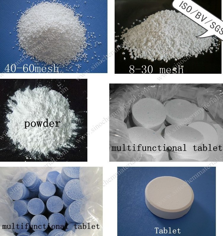 Swimming pool chemicals tcca trichlor 90% available chlorine tablets