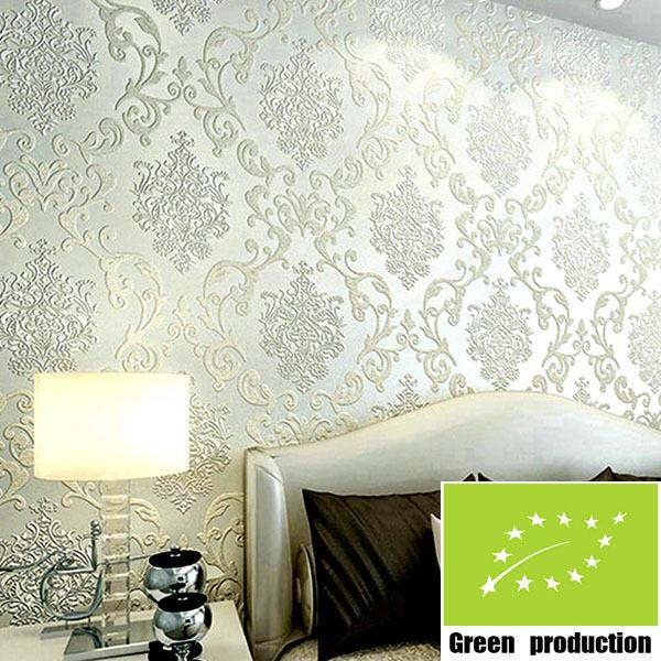 European 3d Bedroom Floral Wallpaper Modern 3d Flocking