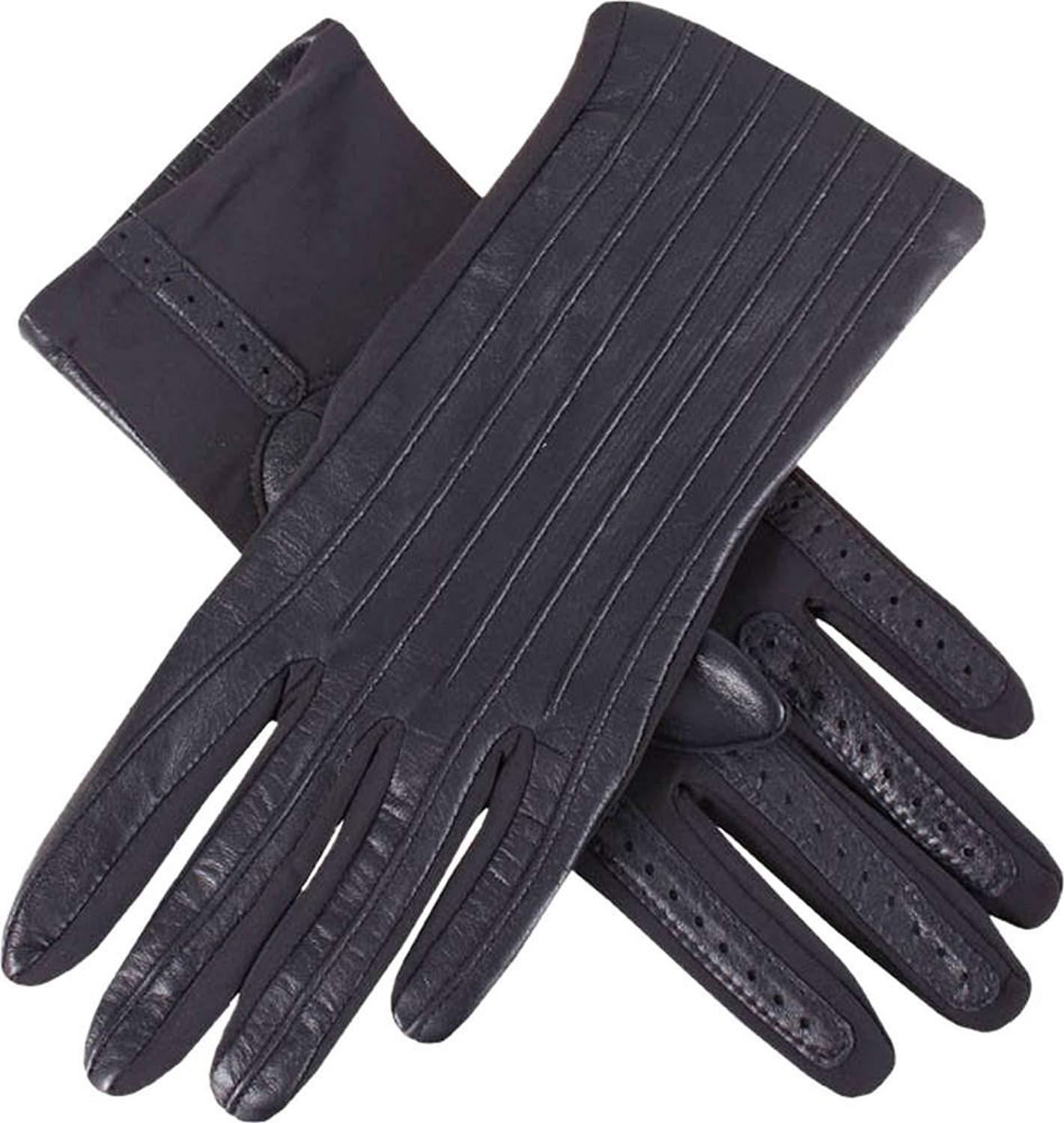 Dents Womens Olivia Half Silk Lined Hairsheep Leather and Elastane Gloves - Navy