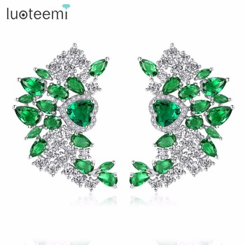 LUOTEEMI Fashion Trend Brass Jewelry Mixed Green Clear Geometric Cubic Zirconia Heart Shape Stud Earrings For Women