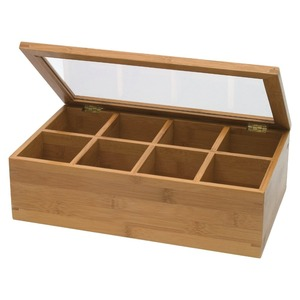 8 compartment assorted bamboo wooden tea storage box with clear lid