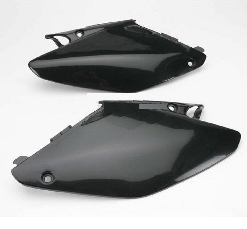 Ufo Black Side Plates and Keepitroostin Sticker Fits Honda Cr125 Cr250 2002-2007